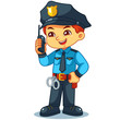 Police Officer Boy Checking Information With Walky Talky