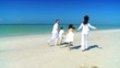 Healthy Family Beach Jogging