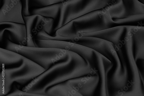 Black Silk Fabric Background View From Above Smooth Elegant Black