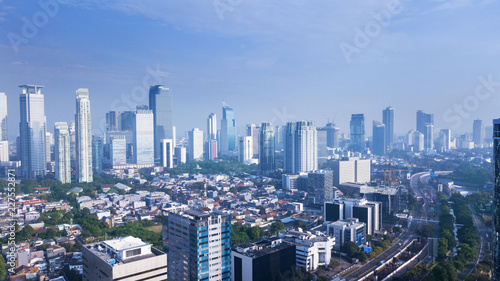 Aluminium Prints Beautiful Jakarta cityscape under blue sky
