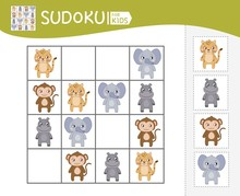 Sudoku Game For Children With Pictures. Kids Activity Sheet. Vector Cute African Animals.