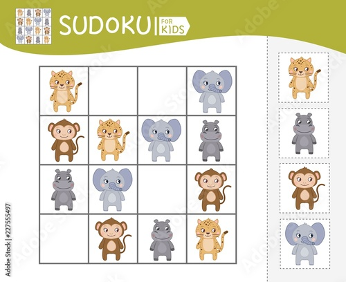 Fototapety, obrazy: Sudoku game for children with pictures. Kids activity sheet. Vector cute African animals.