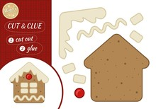 Education Paper Game For Preshool Children. Vector Illustration. Cute Gingerbread In The Shape Of A Christmas House.
