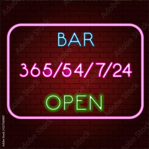 Fényképezés  Neon bar signboard city color pink. Vector illustration