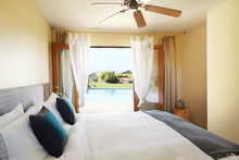 Hotel Room Overlooking The Pool In Palm Springs, California