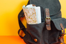 Backpack On Yellow Background