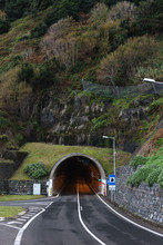 Entry Into The Highway Tunnel In The Mountains