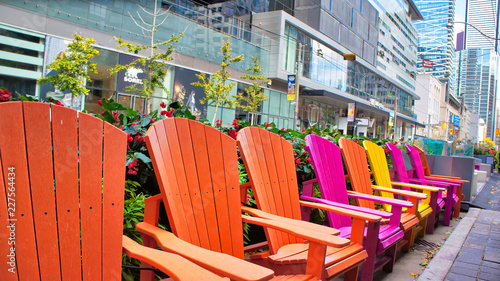 Toronto, Canada-12 October, 2018: Colorful chairs on King street in front if TIF Wallpaper Mural