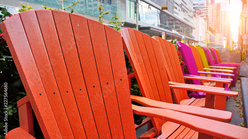 Colorful chairs on King street in front if TIFF (Toronto International Film Fest Canvas Print