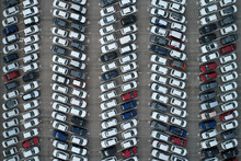 Top View Of Parking Space With Colorful Cars.