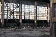Abandoned ruined building of an old factory house broken walls non-residential premises for design background