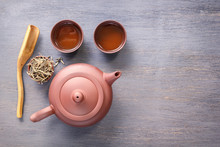 Clay Teapot And Cups Are Prepared For The Traditional Asian Tea Ceremony. Top View Copy Space