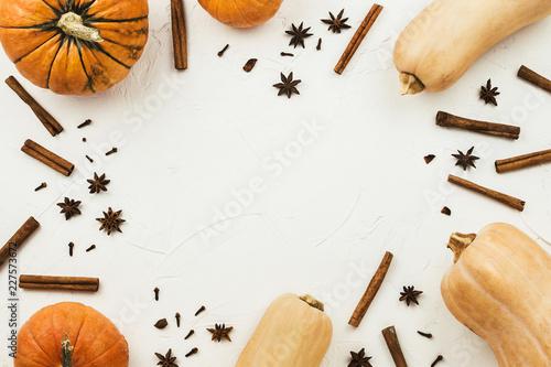Fotomural Flat lay frame arrangement of various pumpkins, anise stars and cinnamon sticks