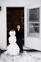 Doorman. Snowman By Front Door.