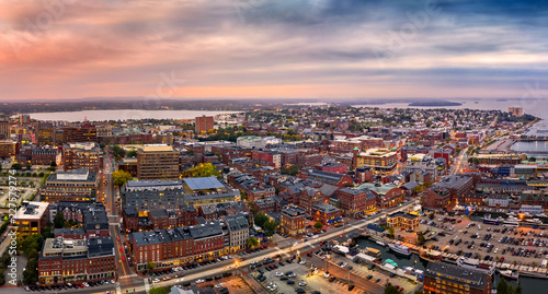 Poster Salmon Aerial panorama of Portland, Maine at dusk