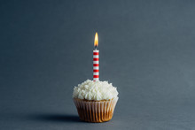 Birthday Cupcake On A Charcoal Background