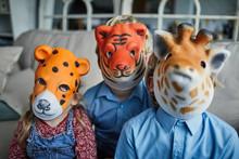 Children Wearing Animal Masks