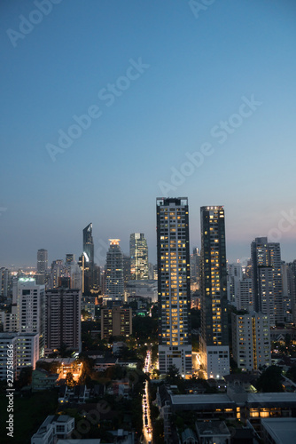 Aerial view of the Bangkok city, is the capital and most populous city in Thailand.