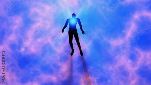 Man floating, rising into space , heavens Wallpaper Mural