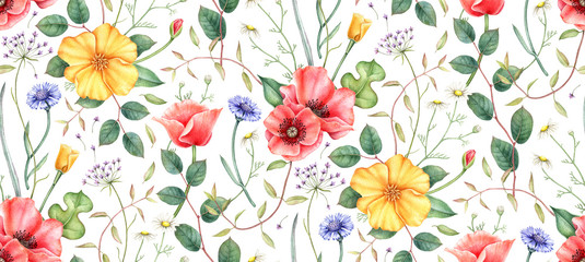 Panel Szklany Maki Seamless pattern with wildflowers: poppy, cornflower, chamomile and herbs. Hand drawn watercolor illustration for fabric, wrapping, wallpapers and other designs. Floral botanical print.