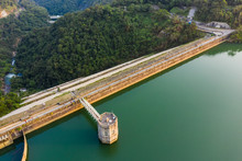 Aerial View Of Reservoir And Dam In Hong Kong