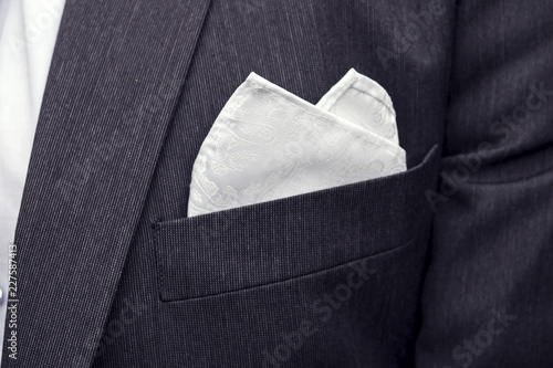 Fotografie, Obraz  View to the male coat pocket with a fixed white square