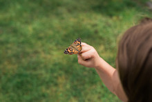 Young Girl Releasing Butterfly