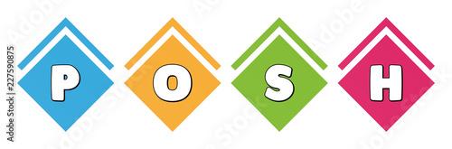 Fotografía  Posh - typography in multi-colored boxes on white background