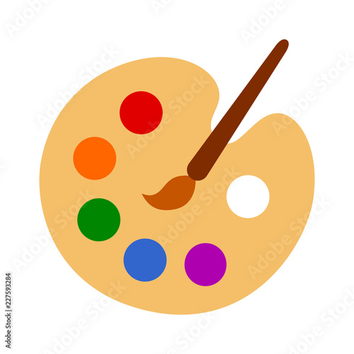 Color palette with colorful paint swatches and paint brush / painting paintbrush flat vector icon for art apps and websites Wall mural