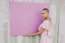 Girl With Purple Board