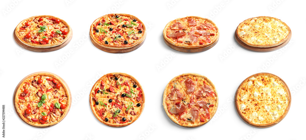 Set with different delicious pizzas on white background