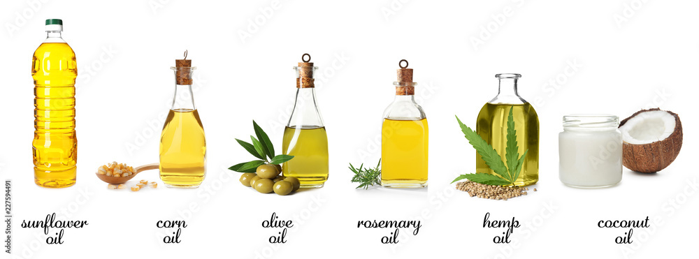 Fototapety, obrazy: Set with bottles of different oils on white background