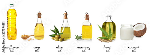 Set with bottles of different oils on white background