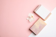 Flat Lay Composition With Handmade Soap Bars On Color Background. Space For Text