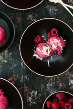 Raspberry Sorbet With White Chocolate Shards And Fresh Berries