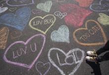 Heart Chalk Art And A Little Girls Shoes