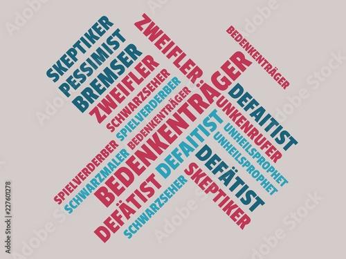 Das Wort - Bedenkenträger - abgebildet in einer Wortwolke mit zusammenhängenden Wallpaper Mural