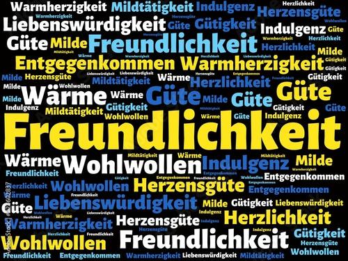 Photo Das Wort - Freundlichkeit - abgebildet in einer Wortwolke mit zusammenhängenden
