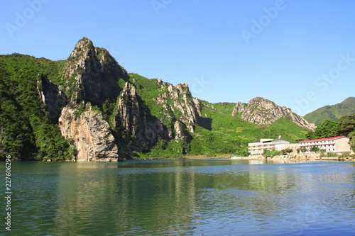 Deurstickers Asia land Mountains and Lake of clothing, North Korea (DPRK)