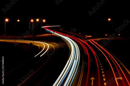 Deurstickers Nacht snelweg traffic on the highway at night