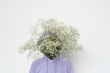 Mysterious Woman With Gypsophila