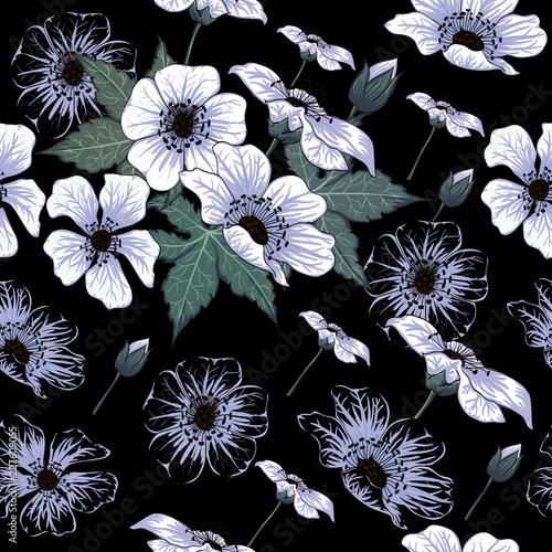 bezszwowi-deseniowi-dzicy-kwiaty-na-odosobnionym-czarnym-backgground-wektorowa-ilustracyjna-doodle-reka-rysujaca-dla-uzywanego-tapetowego
