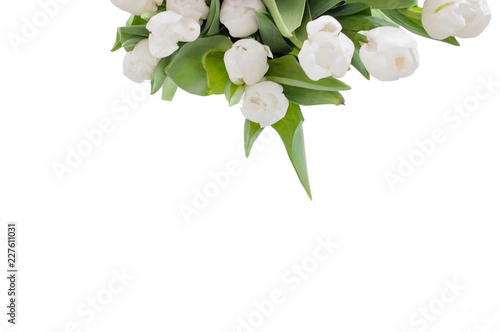 Fotografie, Obraz  White isolated tulips on a table were used as a Spring decoration background