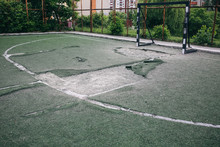 Old Abandoned Football Pitch. Urban Photo Of Destruction.