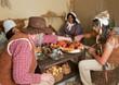 Thanksgiving pilgrims eating