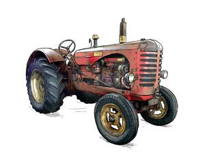 Stara czerwona ciągnikowa ilustracja w kreskówce lub komicznym stylu. Ciągnik został wyprodukowany w Szkocji, w Wielkiej Brytanii w latach 1954 - 1958 lub 50-tych.
