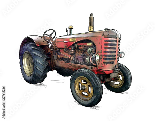 Old red tractor illustration in cartoon or comic style. Tractor was made in Scotland, United Kingdom in between 1954 - 1958 or 50's. Wall mural