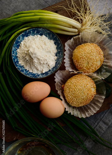 Chinese sesame pie and ingredients