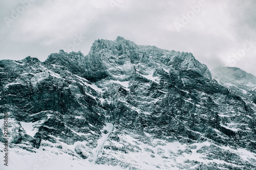 Closeup of Dramatic Snow-Covered Mountain Peak in Norway