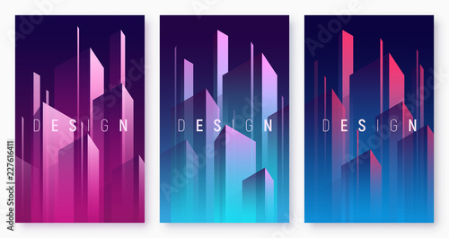 Vector gradient geometric abstract backgrounds, colorful minimal #227616411